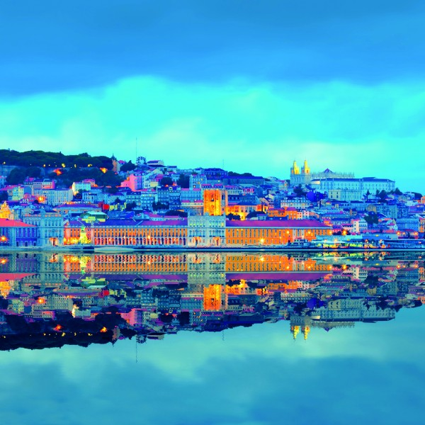 Lisbon Skyline and its Reflection at the Blue Hour, Portugal
