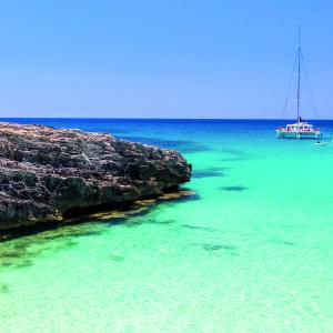 Menorca, Balearic Islands, Spain, view of Talaier Beach in summer